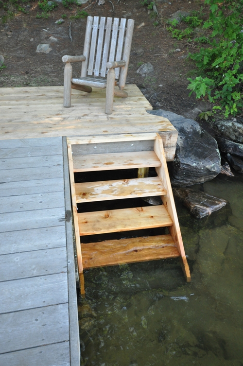Stairs Into Shallow Area Off Smaller Dock